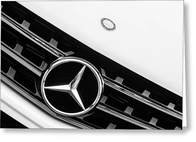 Famous Photographer Greeting Cards - Mercedes-Benz Emblem - Grille Logo -0030bw Greeting Card by Jill Reger