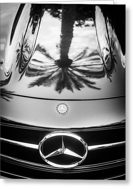 Famous Photographer Greeting Cards - Mercedes-Benz Grille Emblem -0180bw Greeting Card by Jill Reger