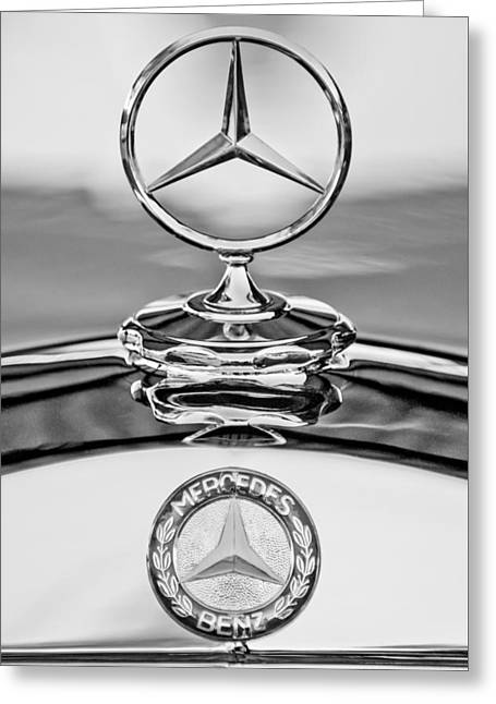Car Details Greeting Cards - Mercedes Benz Hood Ornament 2 Greeting Card by Jill Reger