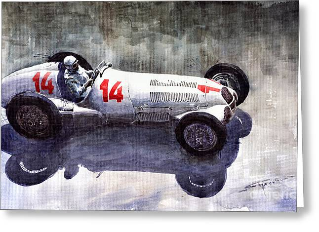 Auto Greeting Cards - Mercedes Benz W 125 1937 Swiss GP R Caracciola Greeting Card by Yuriy  Shevchuk