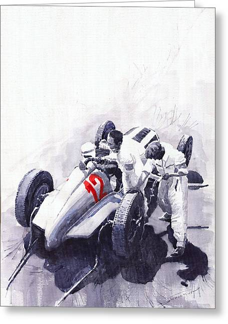 Automotive Greeting Cards - Mercedes Benz W125 Rudolf Caracciola the German Grand Prix Nurburgring 1937  Greeting Card by Yuriy  Shevchuk