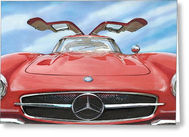 Mercedes 300sl Gullwing Greeting Cards - Mercedes Gullwing Greeting Card by Rod Seel
