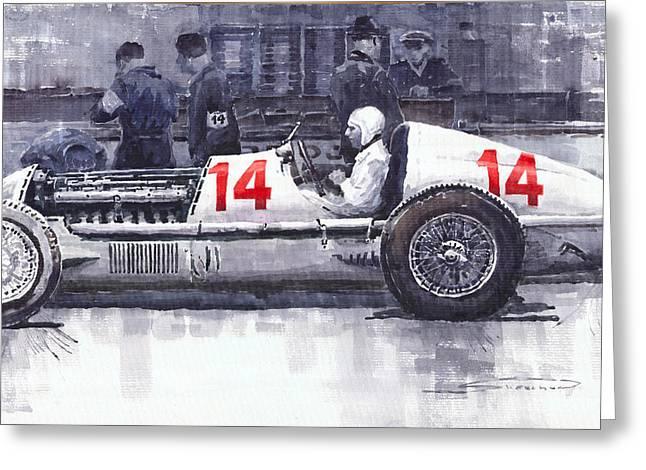 Watercolour Paintings Greeting Cards - Mercedes W25C Monaco GP 1936 Manfred von Brauchitsch Greeting Card by Yuriy  Shevchuk
