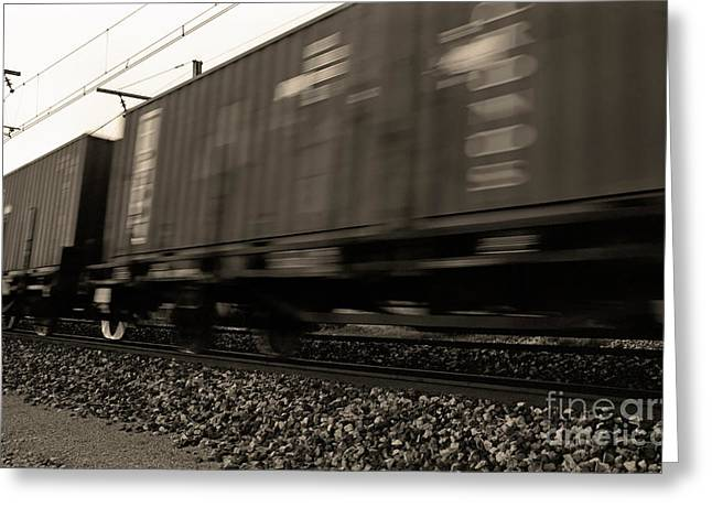 Freight Transportation Greeting Cards - Merchandise train on railways Greeting Card by Sami Sarkis