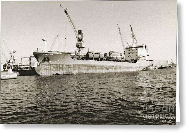 And Merchant Ships Greeting Cards - Merchant Ship Docked at Barcelonas Harbour Greeting Card by Don Pedro De Gracia