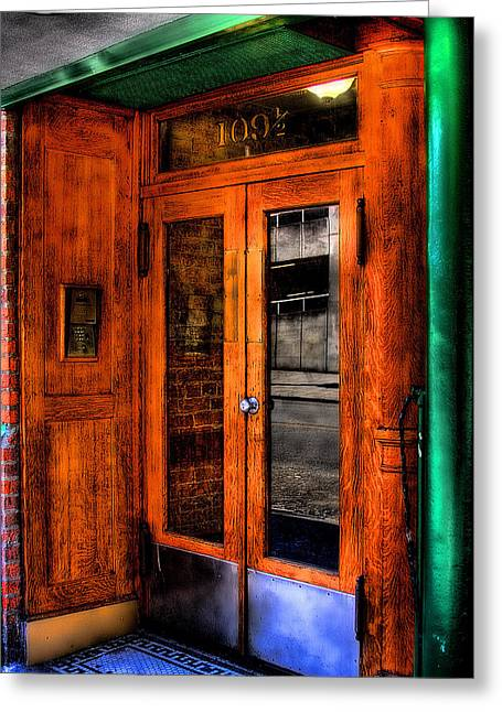 Merchants Cafe Doors Greeting Card by David Patterson