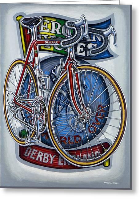 Mercian Flam Red Road Bicycle Greeting Card by Mark Howard Jones