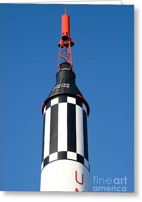 Concord Center Greeting Cards - Mercury Redstone Rocket Greeting Card by Larry Landolfi
