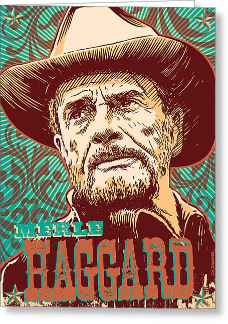 Country And Western Greeting Cards - Merle Haggard Pop Art Greeting Card by Jim Zahniser