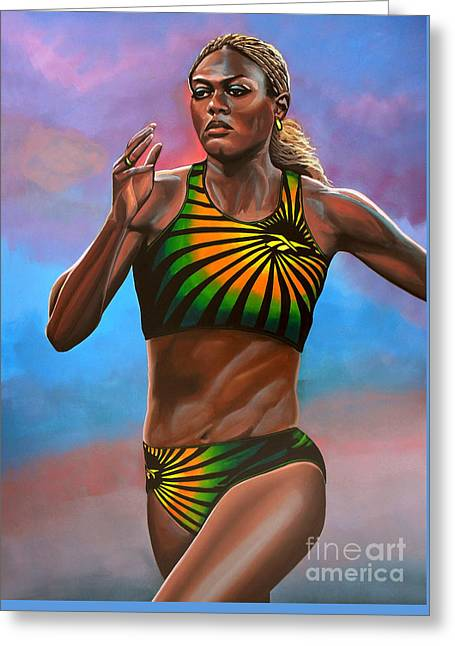 Pages Greeting Cards - Merlene Ottey Greeting Card by Paul Meijering