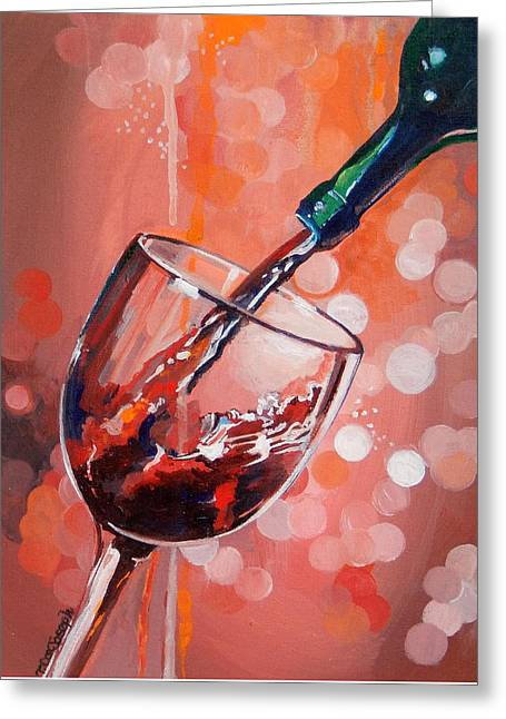 Wine Pour Greeting Cards - Merlot Madness Greeting Card by Terry Cox Joseph