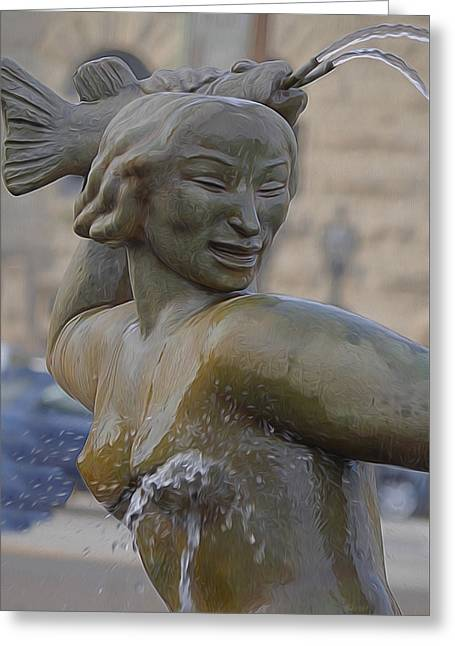 Mermaids Sculptures Greeting Cards - Mermaid Greeting Card by Albert Stewart