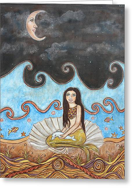 Raining Pastels Greeting Cards - Mermaid and Moon Greeting Card by Rain Ririn