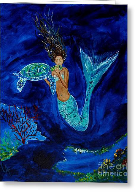 Mermaid And The Sea Turtle Greeting Card by Leslie Allen