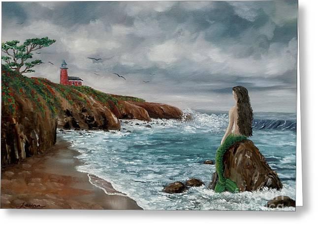 Mermaid At Santa Cruz Greeting Card by Laura Iverson