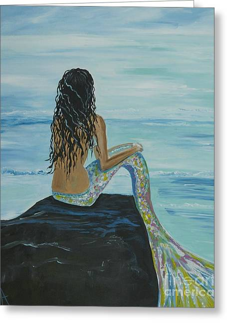 Print On Acrylic Greeting Cards - Mermaid Awaits Greeting Card by Leslie Allen
