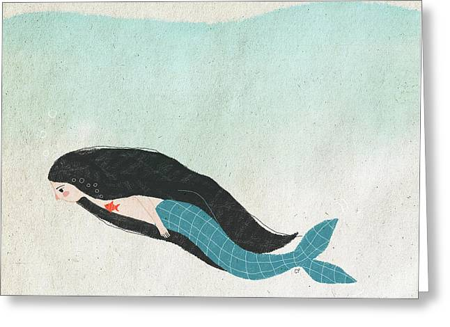 Mermaid Greeting Card by Carolina Parada
