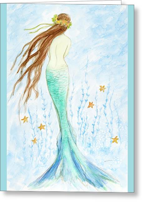 Mermaid In Her Garden Greeting Card by Tina Obrien