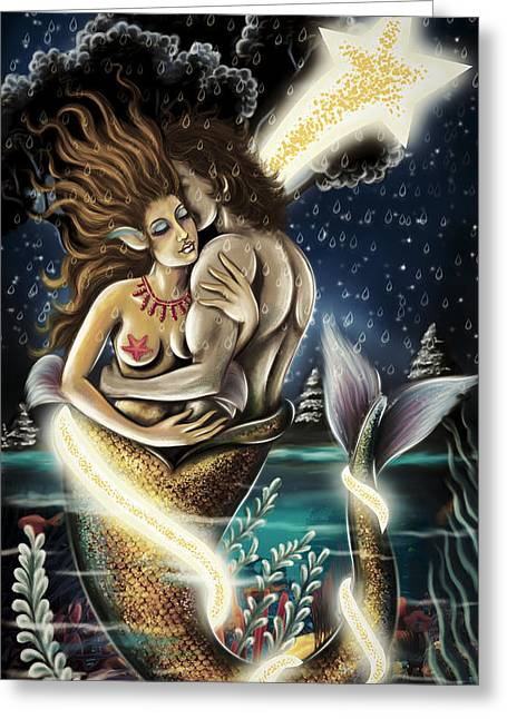Angel Blues Greeting Cards - Mermaid In Love Colored Version Greeting Card by Arun Sivaprasad