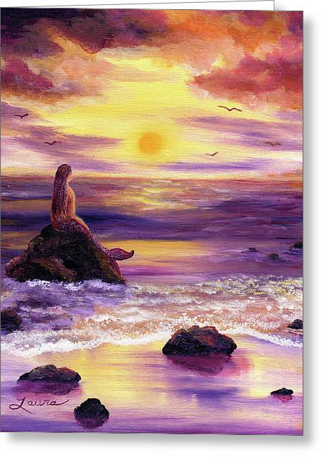 Fantasy Creatures Greeting Cards - Mermaid in Purple Sunset Greeting Card by Laura Iverson