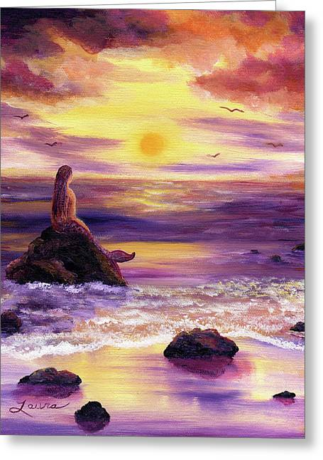 Mermaid In Purple Sunset Greeting Card by Laura Iverson