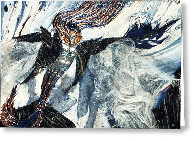 Atlantis Mixed Media Greeting Cards - Mermaid Greeting Card by Ione Citrin