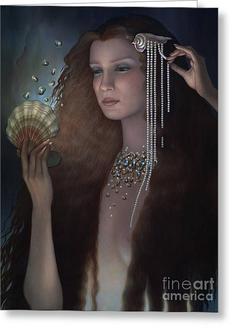 Glowing Water Greeting Cards - Mermaid Greeting Card by Jane Whiting Chrzanoska