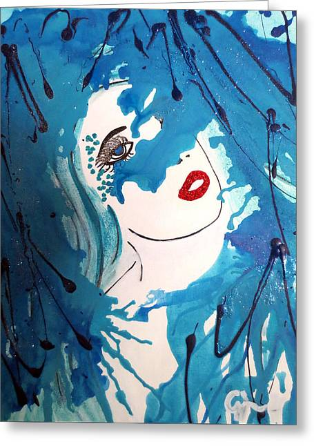 Abstract Expressionist Greeting Cards - Mermaid Longing for Her Human Greeting Card by Cheryl Wilson
