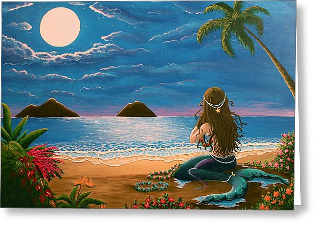 Passion Fruit Paintings Greeting Cards - Mermaid Making Leis Greeting Card by Gale Taylor