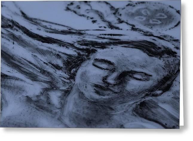 Women Glass Art Greeting Cards - Mermaid Moon Greeting Card by Deborah Johnson