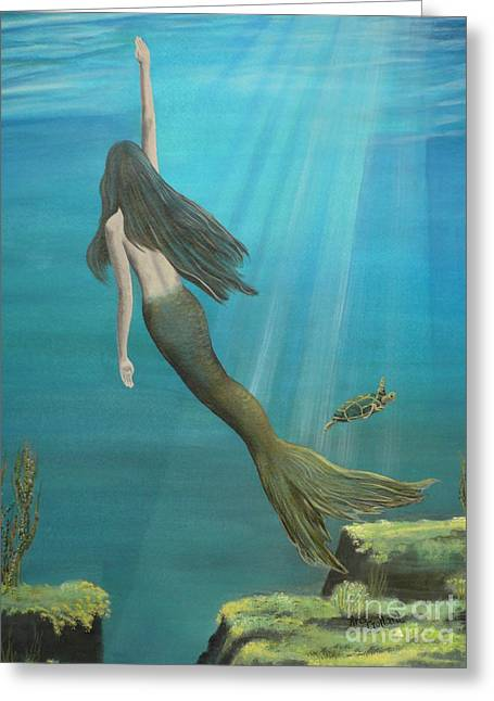Underwater Scenes Greeting Cards - Mermaid of Weeki Wachee Greeting Card by Kris Crollard