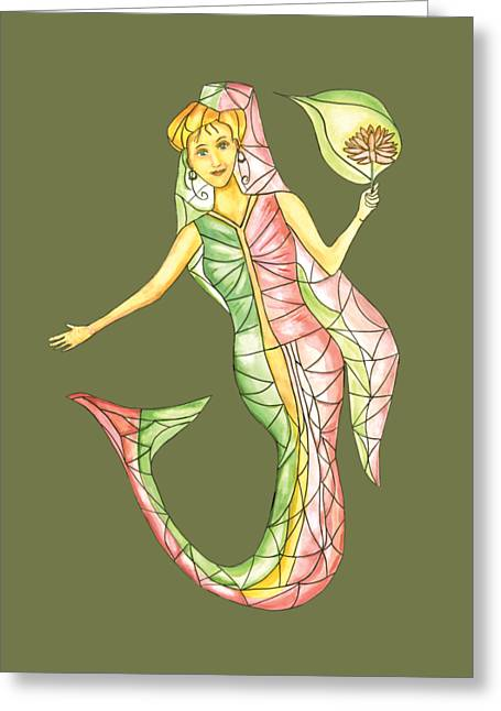 Abstract Digital Drawings Greeting Cards - Mermaid Stories a Greeting Card by Thecla Correya