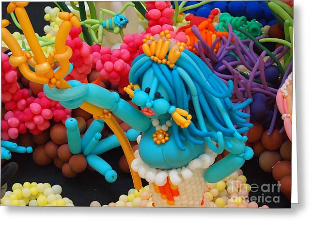 Mermaid Under The Sea Balloon Art Greeting Card by Jennifer Craft