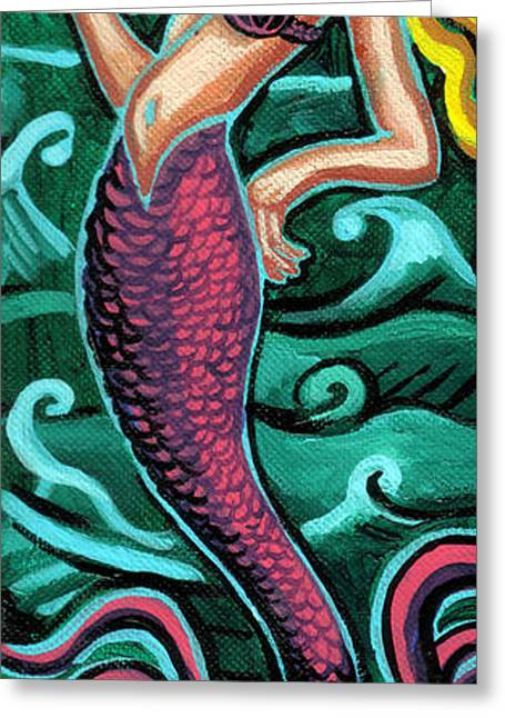 Print On Canvas Greeting Cards - Mermaid With Pearl Greeting Card by Genevieve Esson