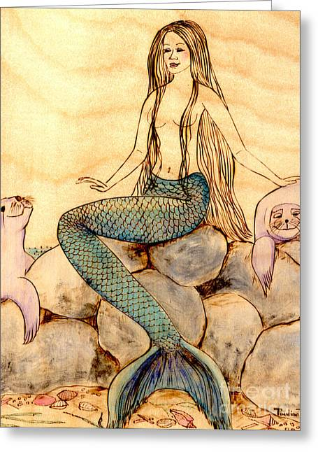 Woodburnings Pyrography Greeting Cards - Mermaid with Seals Greeting Card by Pauline Ross