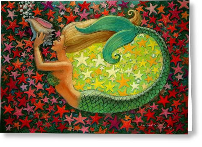 Goddess Art Greeting Cards - Mermaids Circle Greeting Card by Sue Halstenberg