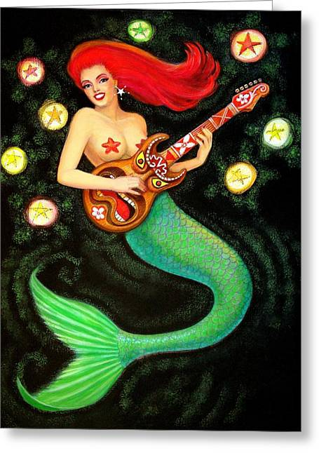 Pop Surrealism Paintings Greeting Cards - Mermaids Rock Tiki Guitar Greeting Card by Sue Halstenberg