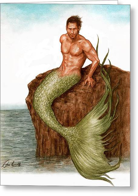 Merman Greeting Cards - Merman On The Rocks Greeting Card by Bruce Lennon