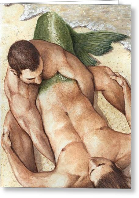 Bruce Lennon Greeting Cards - Merman Rescue Greeting Card by Bruce Lennon