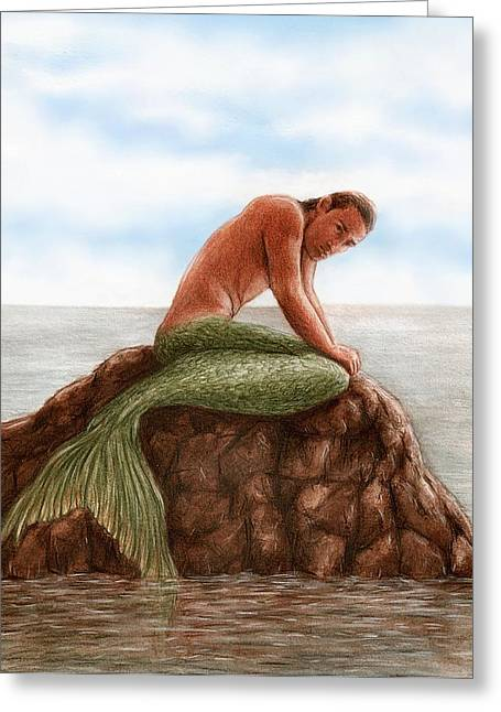 Merman Greeting Cards - Merman Resting Greeting Card by Bruce Lennon