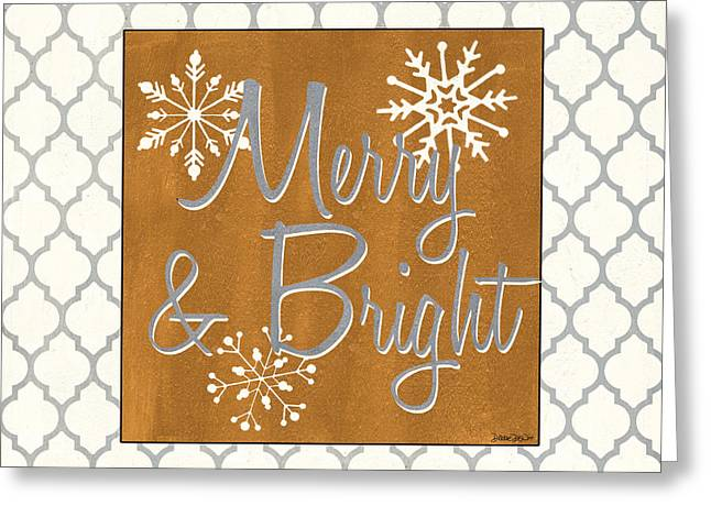 Snowflake Greeting Cards - Merry and Bright Greeting Card by Debbie DeWitt