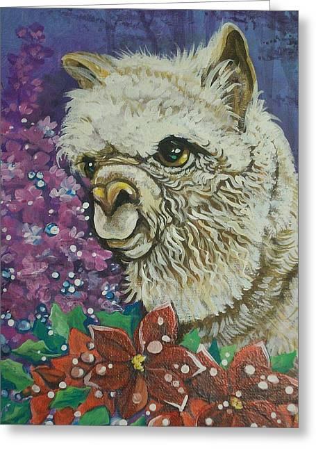 Merry Christmas Alpaca Greeting Card by Patty Sjolin