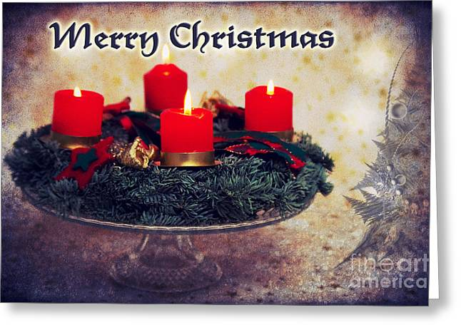 Christmas Greeting Mixed Media Greeting Cards - Merry Christmas Greeting Card by Angela Doelling AD DESIGN Photo and PhotoArt