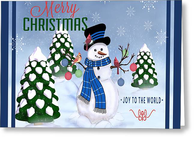 People Paintings Greeting Cards - Merry Christmas-JP3121-SQ Greeting Card by Jean Plout