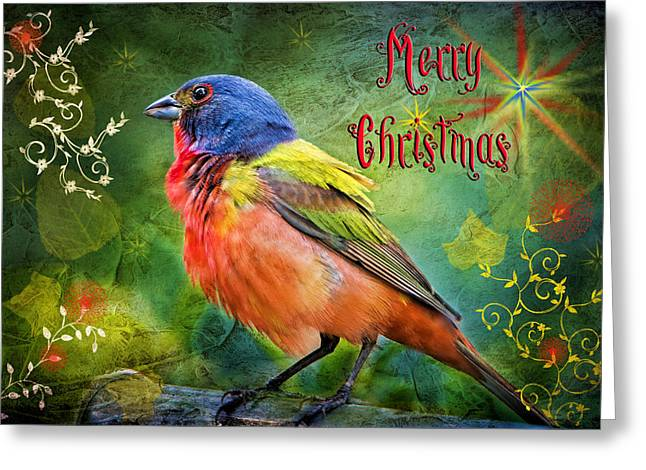 Bird Watcher Greeting Cards - Merry Christmas Painted Bunting Greeting Card by Bonnie Barry