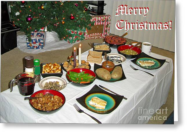 Ausra Paulauskaite Greeting Cards - Merry Christmas- Traditional Lithuanian Christmas Eve Dinner Greeting Card by Ausra Paulauskaite