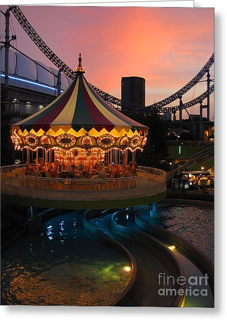 Amusements Greeting Cards - Merry-go-round at Sunset Greeting Card by Eena Bo