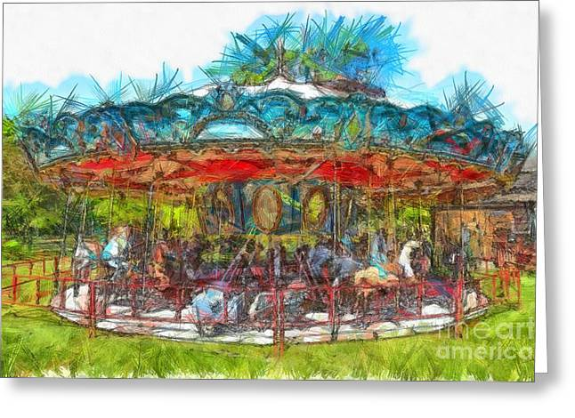 Merry Go Round Pencil Greeting Card by Edward Fielding
