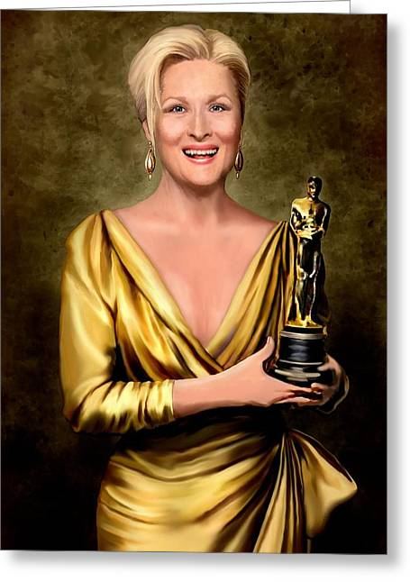 Gold Lame Greeting Cards - Meryl Streep Winner Greeting Card by Jann Paxton
