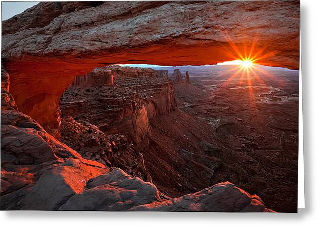 Mesa Greeting Cards - Mesa Arch Sunrise Greeting Card by Barbara Read
